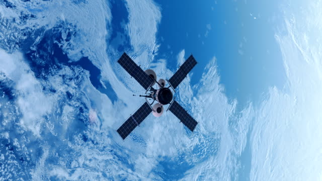 spy satellite orbiting earth. - satellite video stock e b–roll