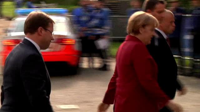 Angela Merkel reprimands US President Barack Obama BELGIUM Brussels German Chancellor Angela Merkel from car and into building INT Angela Merkel...
