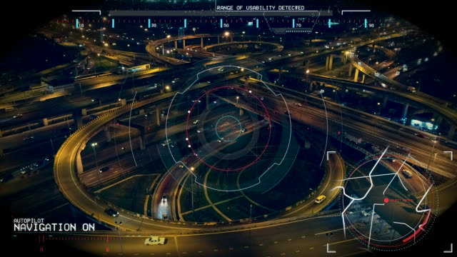 vidéos et rushes de espionnage avec drones jusqu'à l'autoroute, infographie données boucle motion haute technologie texture. - effet visuel