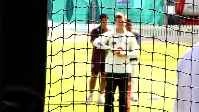 london lords cricket ground ext unidentified mcc players batting and bowling during net practice ian bell batting in nets adil rashid bowling - warwickshire stock videos & royalty-free footage