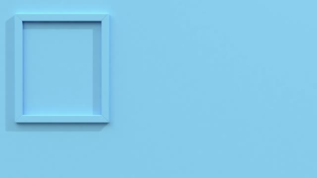 square blank frame minimal flat blue scene 3d rendering motion - still life stock videos & royalty-free footage