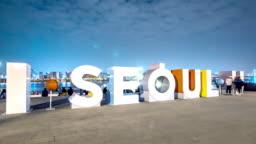 I SEOUL U square in seoul at twilight timelapse hyperlapse