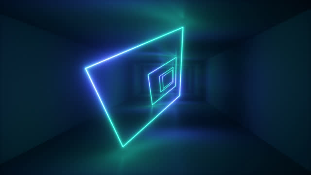 vídeos de stock, filmes e b-roll de a square shape made of a neon beam rotating in an empty room. - rombo