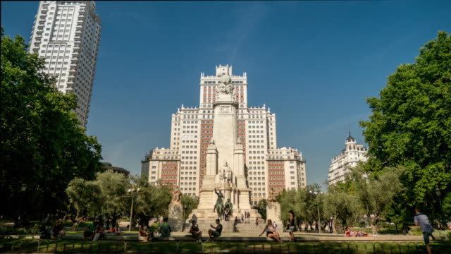 square spain in madrid hyperlapse with quijote cervantes - courtyard stock videos & royalty-free footage