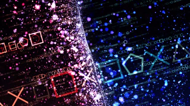 stockvideo's en b-roll-footage met vierkante driehoek, cirkel en x deeltjes veranderende kleur in licht pasagen - vierkant tweedimensionale vorm