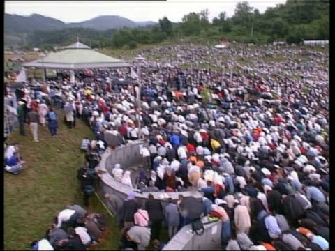 Srebrenica Potocari EXT Fifty thousand survivors take part in service to commemorate the 10th anniversary the massacre of Srebrenica Muslim clerics...