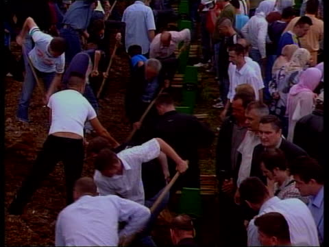 srebrenica 10th anniversary large group of men with shovels piling earth into holes during mass reburial of coffins clean feed tape = d0600820 or... - srebrenica stock videos and b-roll footage