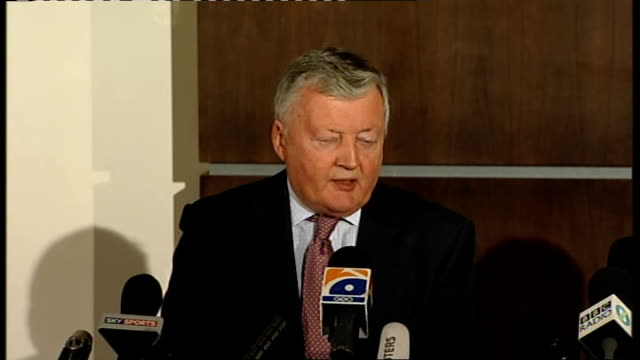 sri lanka cricket team injured in terrorist attack in pakistan press conference with icc president and chief executive morgan press conference sot we... - cricket team stock videos and b-roll footage