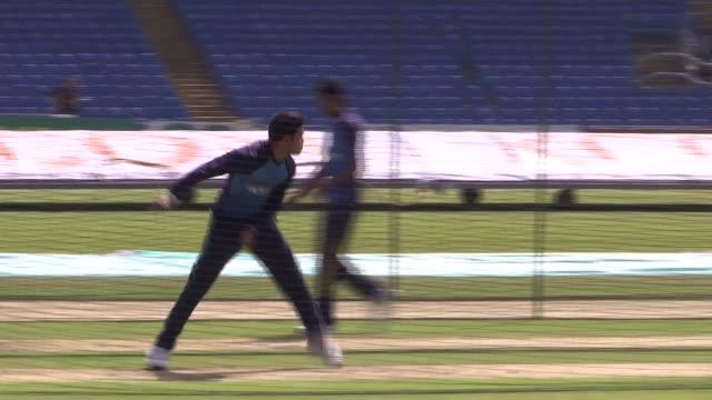 Sri Lanka pre test match training / Jamie Vince interview ENGLAND Leeds Headingley EXT Various shots of Sri Lanka cricketers nets practice
