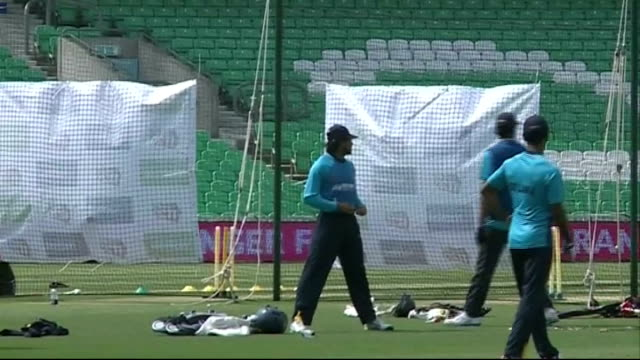 London Oval Cricket Ground EXT General views of Sri Lankan cricketers training session on pitch and nets practice