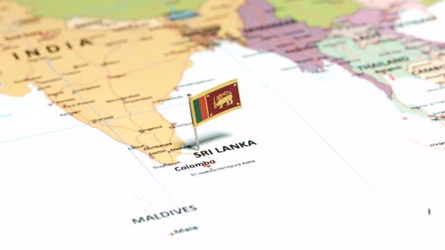 sri lanka with national flag - sri lankan flag stock videos & royalty-free footage