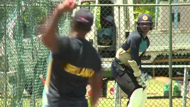 Sri Lankan cricketer Kumar Sangakkara practices at the P Sara Oval Cricket Stadium in Colombo ahead of a second Test match against India the last...
