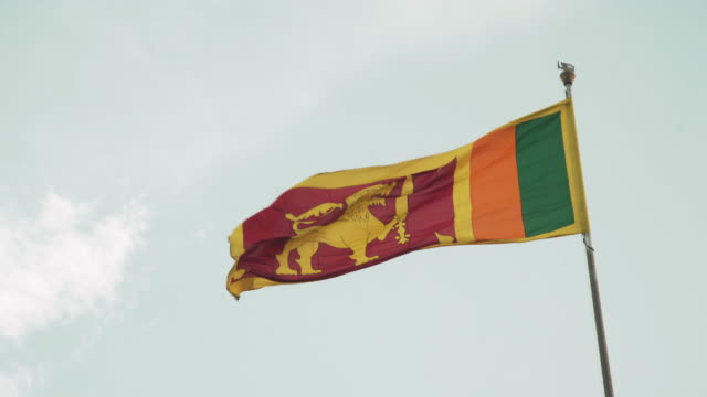 sri lankan flag with copy space - sri lankan flag stock videos & royalty-free footage