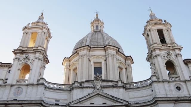 sant'agnese in agone church in piazza navona, rome - piazza navona stock videos & royalty-free footage