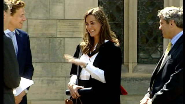 st andrew's university kate middleton chattin gwith others at graduation ceremony - 2005 stock videos and b-roll footage