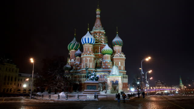 st basil cathedral in red square - st. basil's cathedral stock videos and b-roll footage