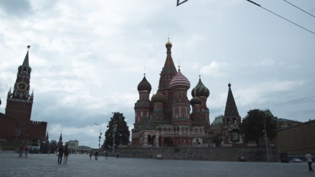 ws pan st basil's cathedral and spasskaya tower of kremlin / moscow, russia - st. basil's cathedral stock videos and b-roll footage