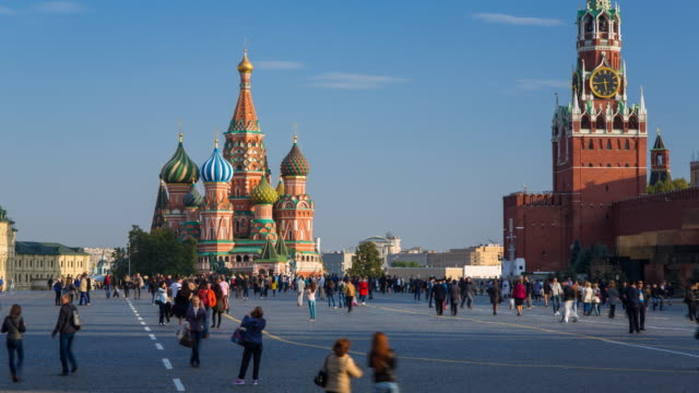 St Basils Cathedral and the Kremlin in Red Square, Moscow, Russia - Time lapse