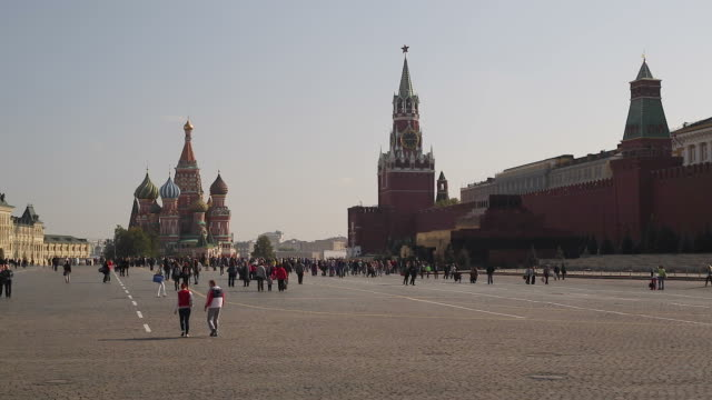 st basils cathedral and the kremlin in red square, moscow, russia - st. basil's cathedral stock videos and b-roll footage