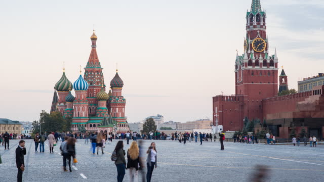 st basils cathedral and the kremlin in red square, moscow, russia - モスクワ市点の映像素材/bロール