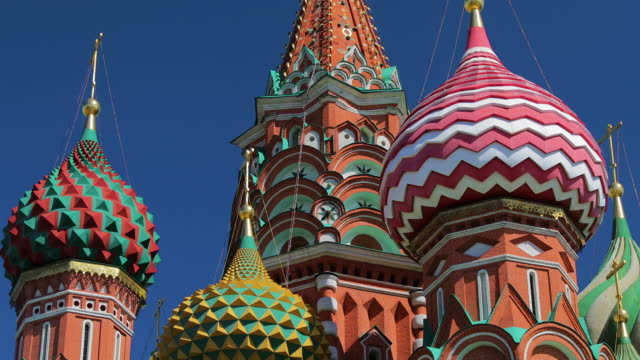 st basil's cathedral domes, moscow, russia - red square stock videos & royalty-free footage