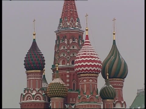 st. basil's cathedral features ornate onion domes. - st. basil's cathedral stock videos and b-roll footage