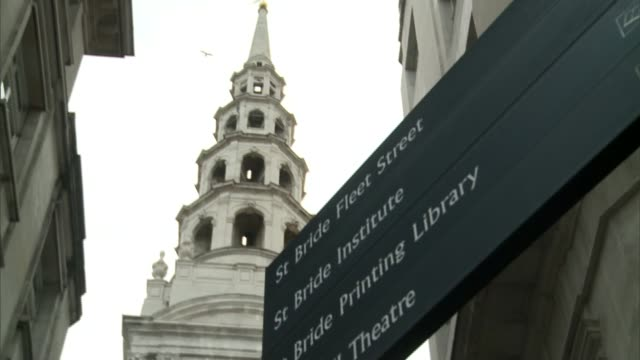 st bride's church in fleet street england london ext various low angle shot st bride's church including spire dr alison joyce interview sot ext low... - spire stock videos & royalty-free footage