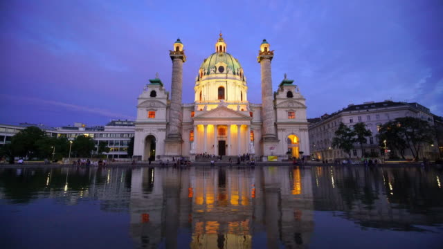st. charles's church in vienna at sunset - church stock videos & royalty-free footage