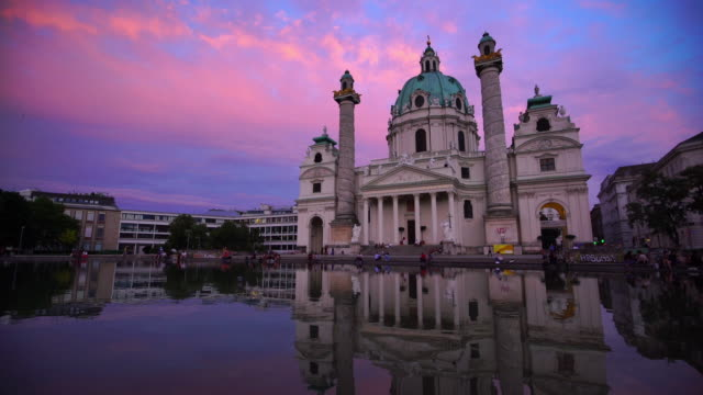 st. charles's church in vienna at sunset - prater park stock videos & royalty-free footage