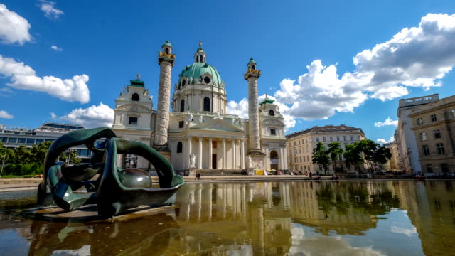 st. charles's church (karlskirche) in vienna, austria - church stock videos & royalty-free footage
