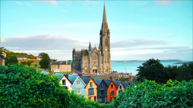 st. colman's cathedral at sunset video - ireland stock videos & royalty-free footage