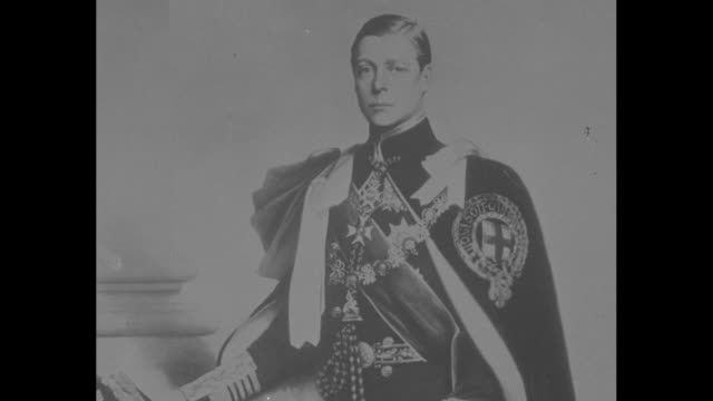 cu st edward's crown / cu portrait of edward viii in uniform / crowing rooster pathe logo / [note film has nitrate deterioration] - rooster stock videos & royalty-free footage