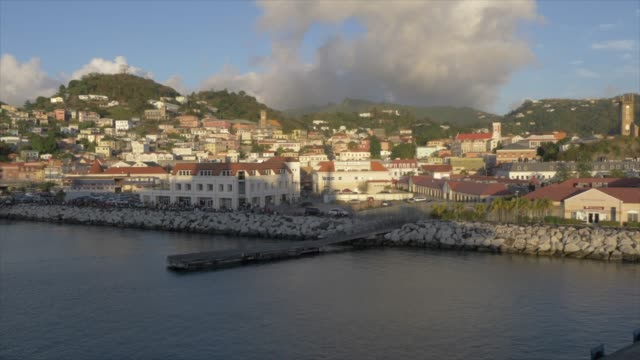 st. george's at sunset from cruise ship, grenada, windward islands, west indies, caribbean, central america - st. george's grenada stock videos and b-roll footage