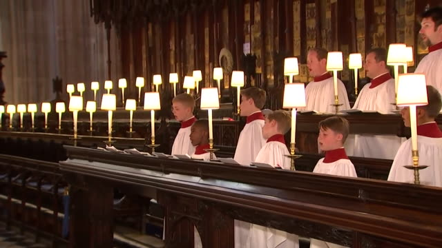 st george's chapel choir rehearsing before the wedding of prince harry and meghan markle - st. george's chapel stock videos and b-roll footage