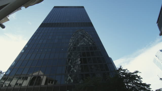 ms la st helen's tower with 30 st mary axe reflected in glass / london, united kingdom - office block exterior stock videos & royalty-free footage