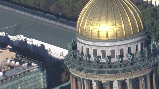 St. Isaac's Cathedral is seen from the air.