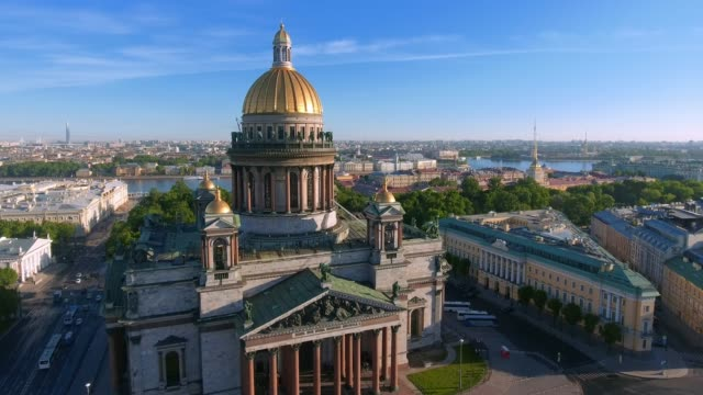 st. isaac's cathedral of st. petersburg aerial shoot - russia stock videos & royalty-free footage