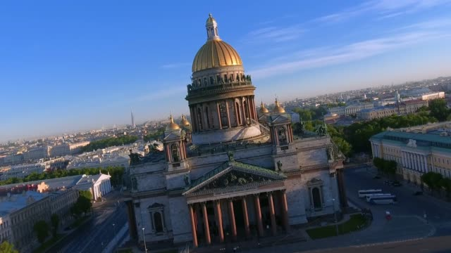 st. isaac's cathedral of st. petersburg aerial shoot - st. petersburg russia stock videos & royalty-free footage