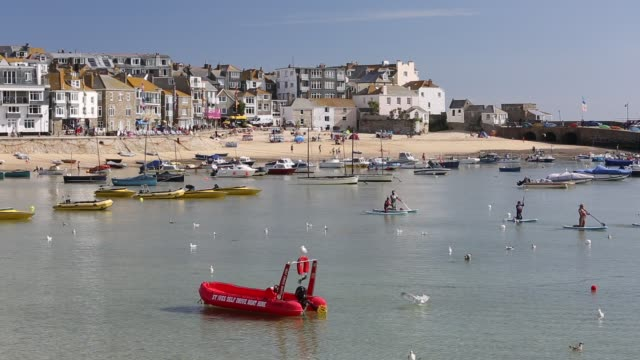 st ives harbour at high tide, cornwall, uk. - coastline stock videos & royalty-free footage