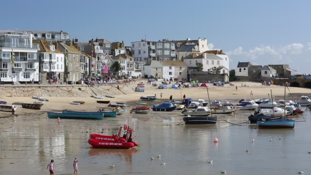 st ives harbour at high tide, cornwall, uk. - bright stock videos & royalty-free footage