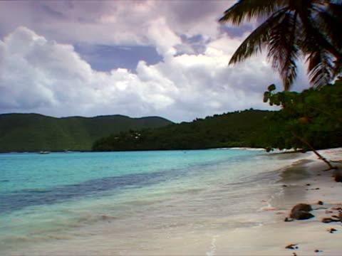 st. john: long view of shore at maho beach - artbeats stock videos & royalty-free footage