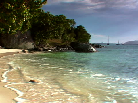 st. john: sandy cove at paradise beach - artbeats stock videos & royalty-free footage