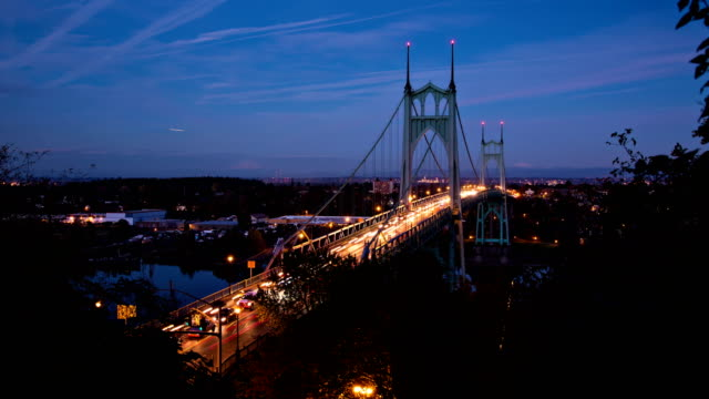 St Johns Bridge Day to Night Time Lapse