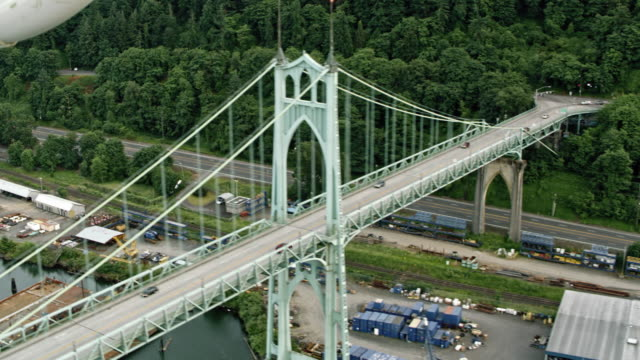 AERIAL St. Johns Bridge in Portland, Oregon