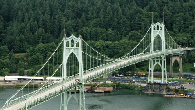 AERIAL St. Johns Bridge over Willamette River in Portland, Oregon