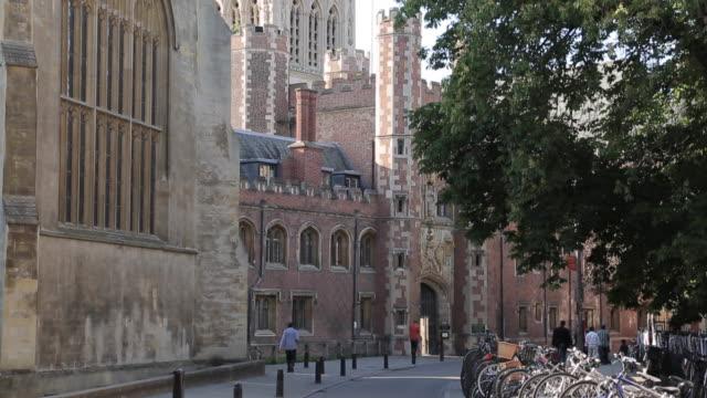 st john´s chapel & architecture on trinity street, cambridge, cambridgeshire, england, uk, europe - cambridge university stock videos & royalty-free footage