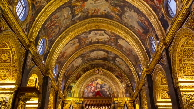 st. john's co-cathedral in valletta city - valletta stock videos & royalty-free footage
