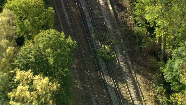 travel disruption england kent fallen tree branches laying across railway track east sussex near wadhurst air view / aerial fallen tree blocking... - wadhurst video stock e b–roll