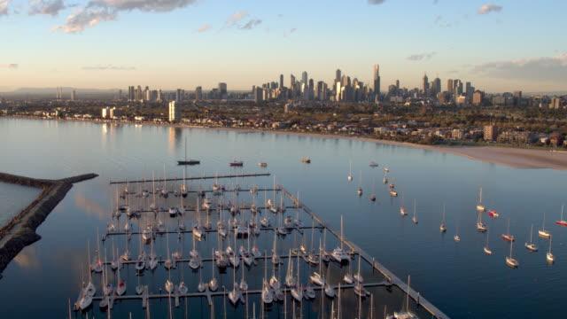 st kilda marina, melbourne, victoria, australia - melbourne australia stock videos & royalty-free footage