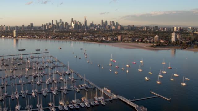 st kilda marina, melbourne, victoria, australia - yacht stock videos & royalty-free footage